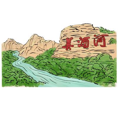 水彩美酒河地标风景