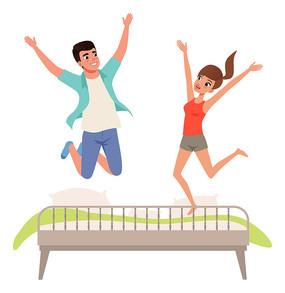 卧室中跳跃的情侣