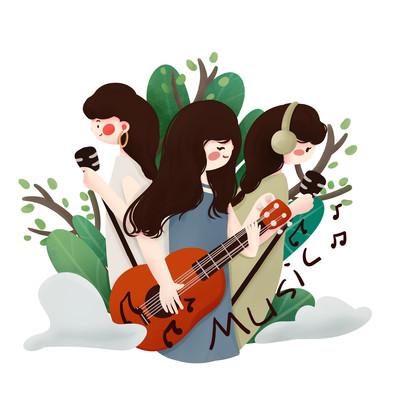 原创吉它音乐女孩培训班元素
