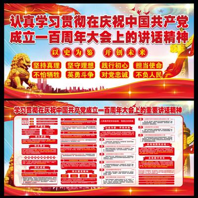 中国共产党成立100周年讲话精神展板设计