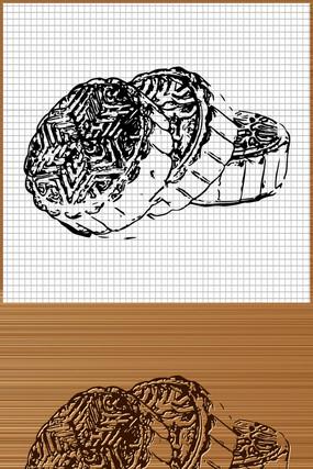 中秋月饼矢量雕刻图