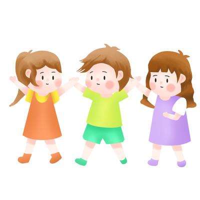 儿童手拉手玩耍开心伙伴手绘可爱儿童