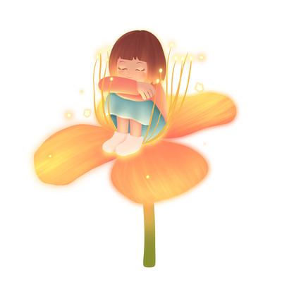 花朵上的蜷缩女孩