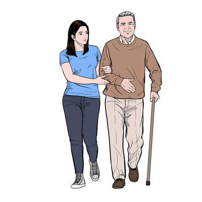 陪伴老人开心散步