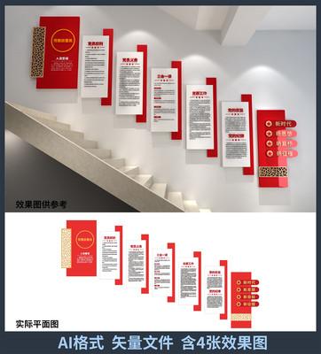 入党誓词党建楼梯文化墙设计
