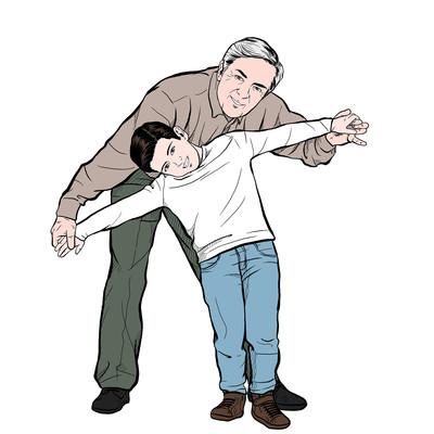 小男孩陪伴老人开心玩耍