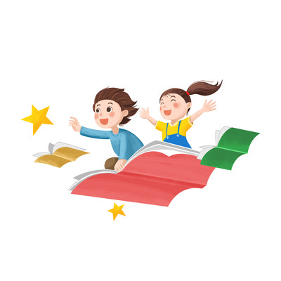 坐着书本飞在天上追星星的儿童素材插画