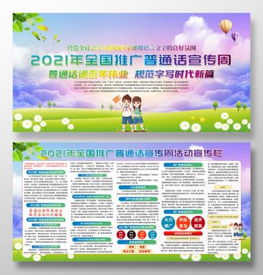 2021年推广普通话宣传周宣传栏展板
