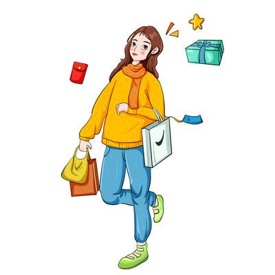潮流女生服装购物狂欢节开心女生插画元素