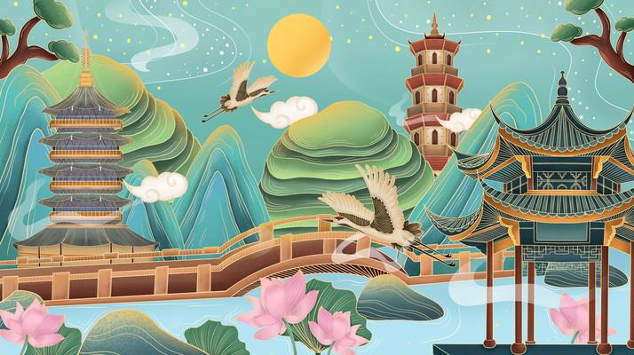 国潮风西湖地标建筑插画