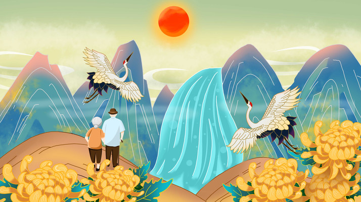 国潮重阳节老人登山风景