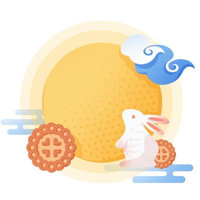 黄色月亮玉兔月饼国潮中秋月饼创意组合插画