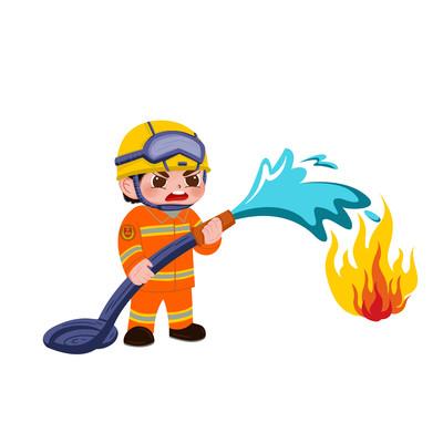 卡通消防員消防安全