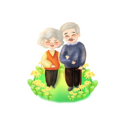老人老伴相伴晚年温馨