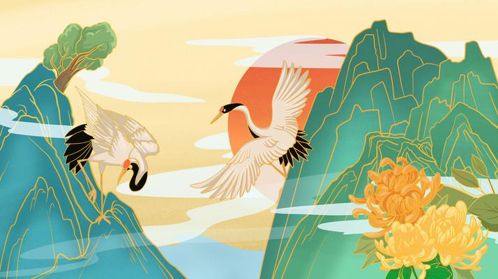 绿色重阳节仙鹤菊花落入组合插画
