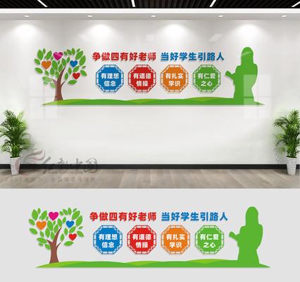 四有教师文化墙宣传标语