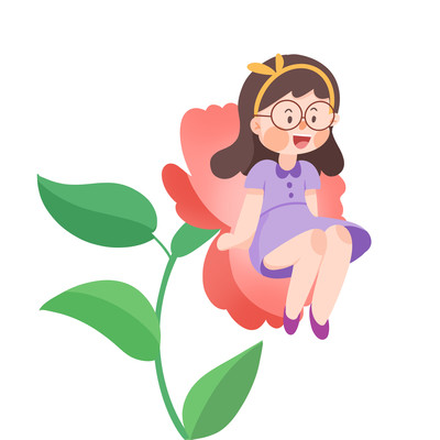 唯美小女孩坐在花朵上