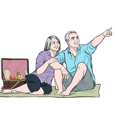 幸福野餐的老年夫妻