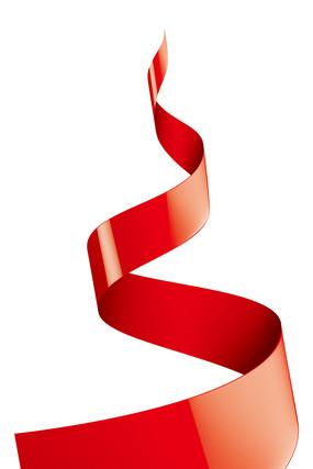 缠绕卷曲的红色丝带