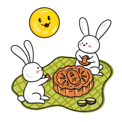 创意玉兔和月饼组合