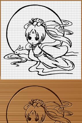 嫦娥月兔矢量雕刻图