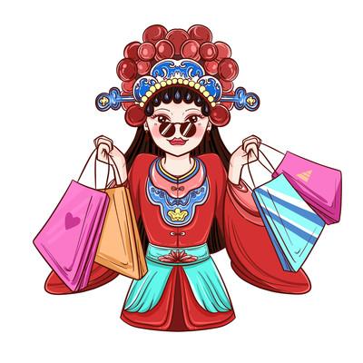国潮戏曲女购物销售营销女性人物