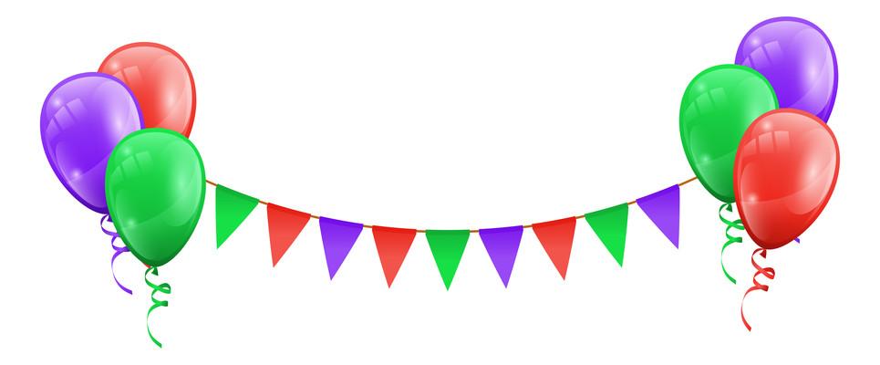 红色节日装饰彩旗跟气球