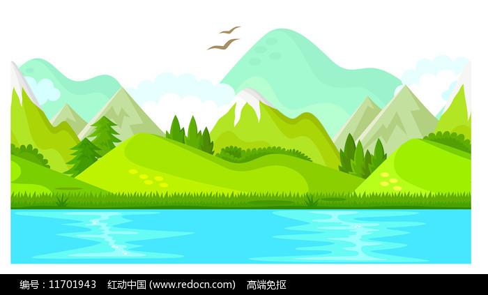 江边的山风景图片
