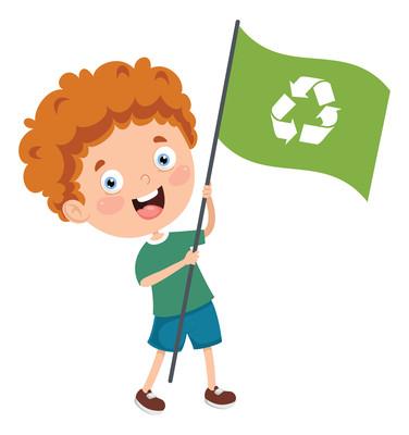 举着回收标志旗子的男孩