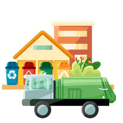卡通垃圾分类垃圾车房子