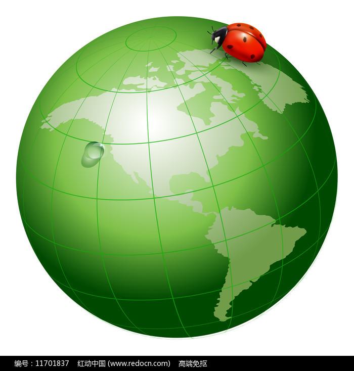 绿色地球跟七星瓢虫图片