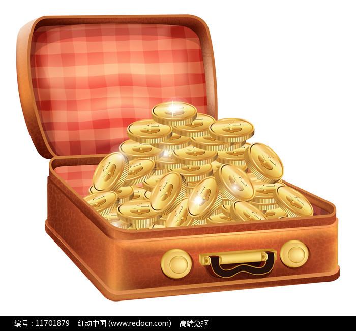皮箱里的钱币图片