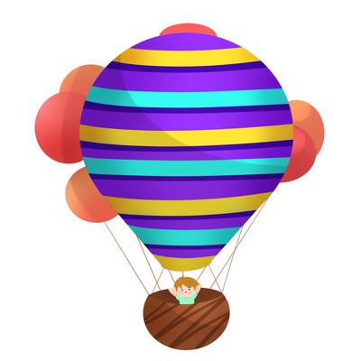 热气球儿童手绘多个漂浮气球气球男孩挥手