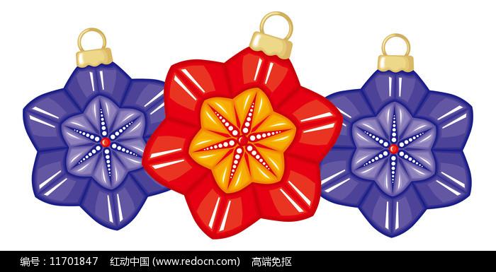 三朵剪纸花朵元素图片