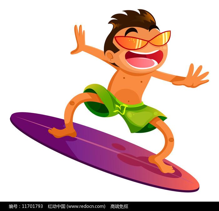 沙滩冲浪的运动员图片