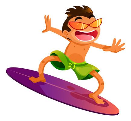 沙滩冲浪的运动员