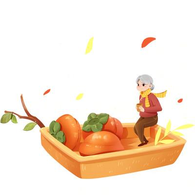 霜降秋天老奶奶吃柿子PNG素材