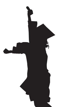 双脚离地跳起拿着毕业证的学士