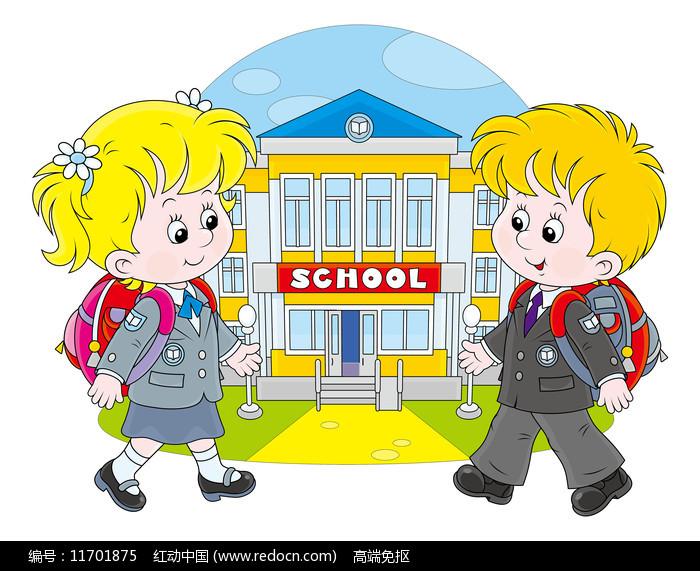 学校门口的学生图片
