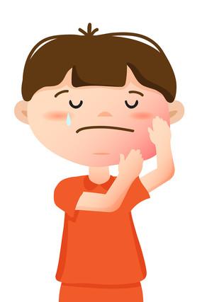 牙齿疼痛的学生卡通手绘