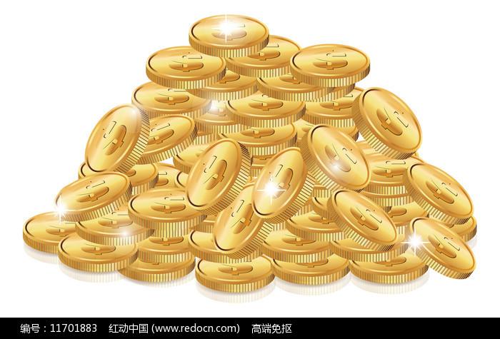 一堆钱币元素图片