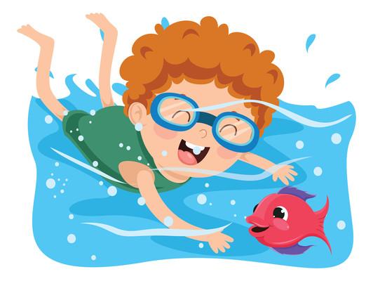 在水池与小鱼玩耍的戴潜水镜的男孩