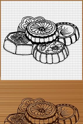 中秋月饼矢量图