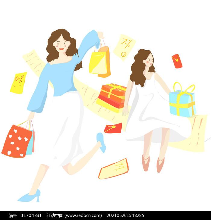 购物的人组合图片