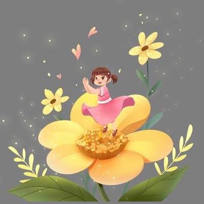 关爱儿童公益女孩与花朵PNG素材