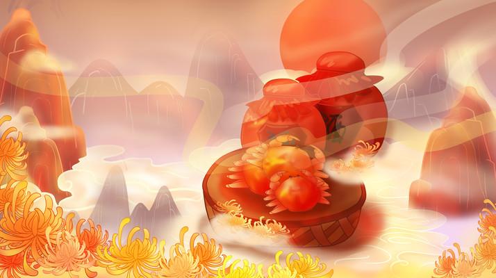 国风重阳节山水美酒菊花螃蟹
