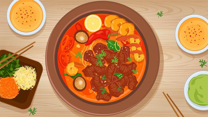 火锅矢量美食插画