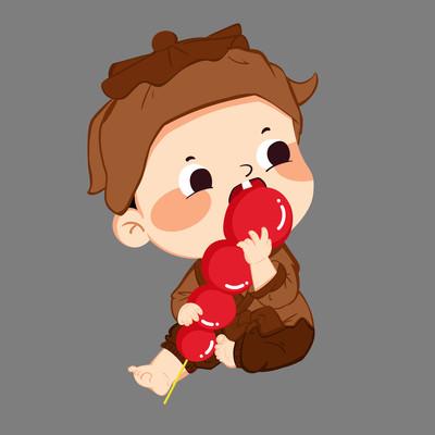 卡通儿童婴儿吃糖葫芦