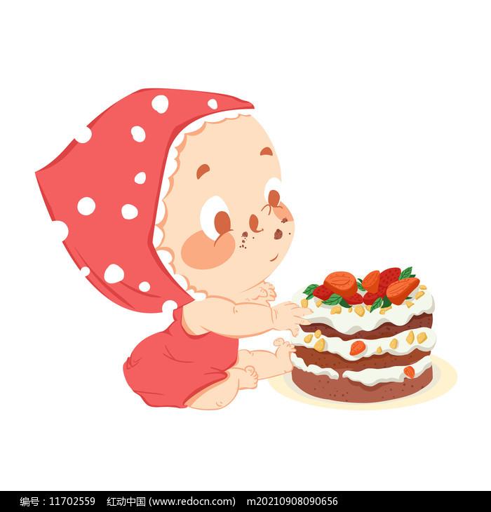 卡通婴儿吃蛋糕图片