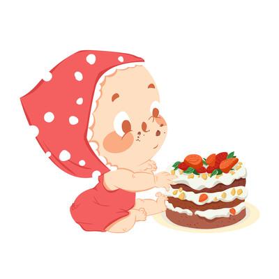 卡通婴儿吃蛋糕